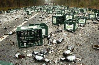 Weg bezaaid met bier