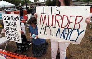 Protest tegen het laten sterven van Terri Schiavo