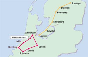 De route van de RandstadRapid en de Zuiderzeelijn