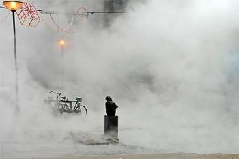 Stoomdampen in het centrum van Rotterdam