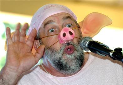 Jacques Barrot met varkenssnuit