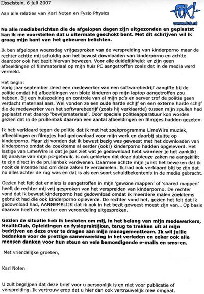 Brief Karl Noten