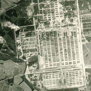 Luchtfoto van concentratiekamp Auschwitz