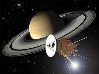 Een tekening van de Cassini-sonde voor Saturnus
