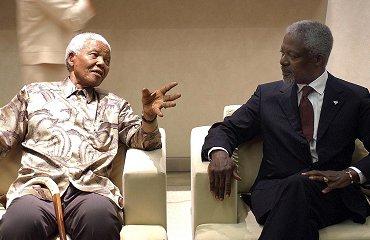 Nelson Mandela en Kofi Annan